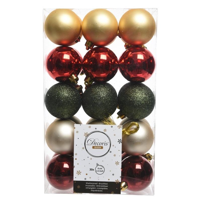 30x Rood-groen-gouden kerstballenset kunststof 6 cm