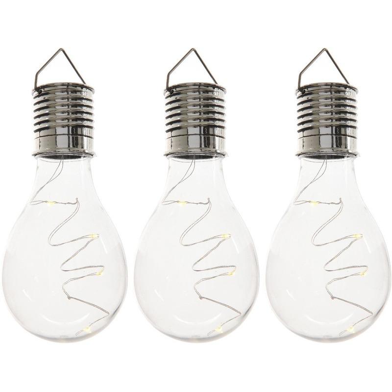 3x Buiten-tuin LED lampbolletjes solar verlichting 14 cm