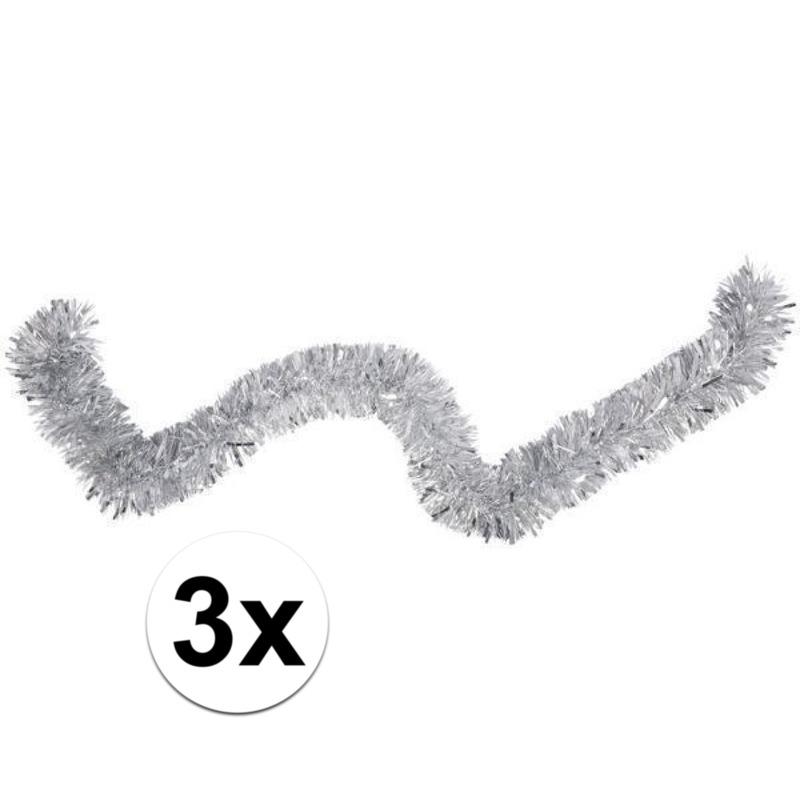 3x Folieslinger-kerstslinger zilver 15cm x 2 m