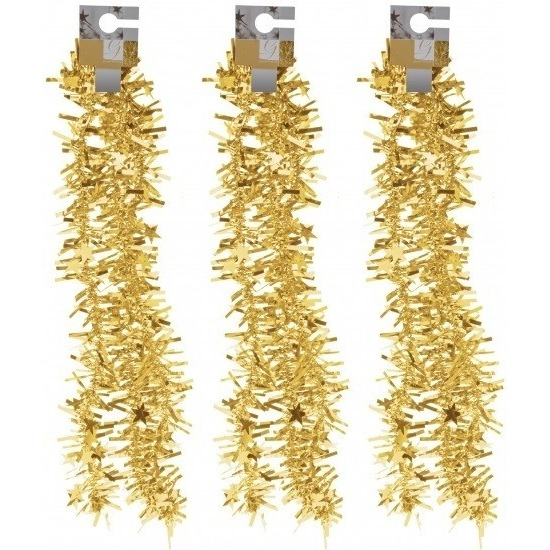 3x Gouden kerstversiering folieslingers met sterretjes 180 cm