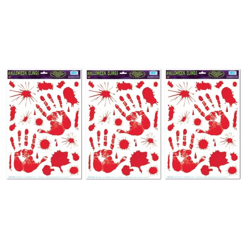 3x Halloween raamsticker met bloed handen