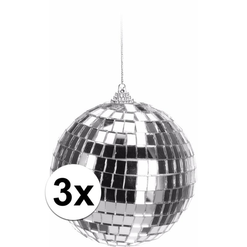 3x Kerstboom decoratie discoballen zilver 10 cm