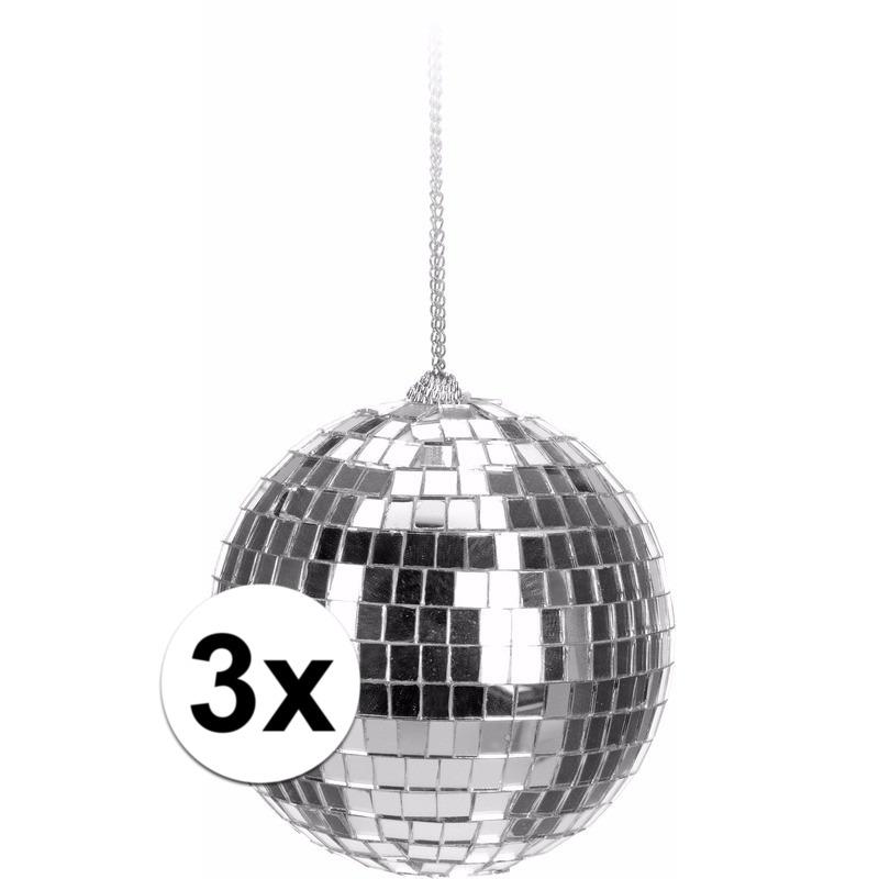 3x Kerstboom decoratie discoballen zilver 6 cm