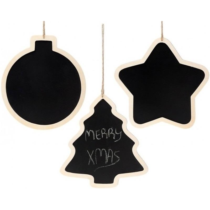 3x Kersthangers houten krijtbord diverse kerstfiguren 22 cm