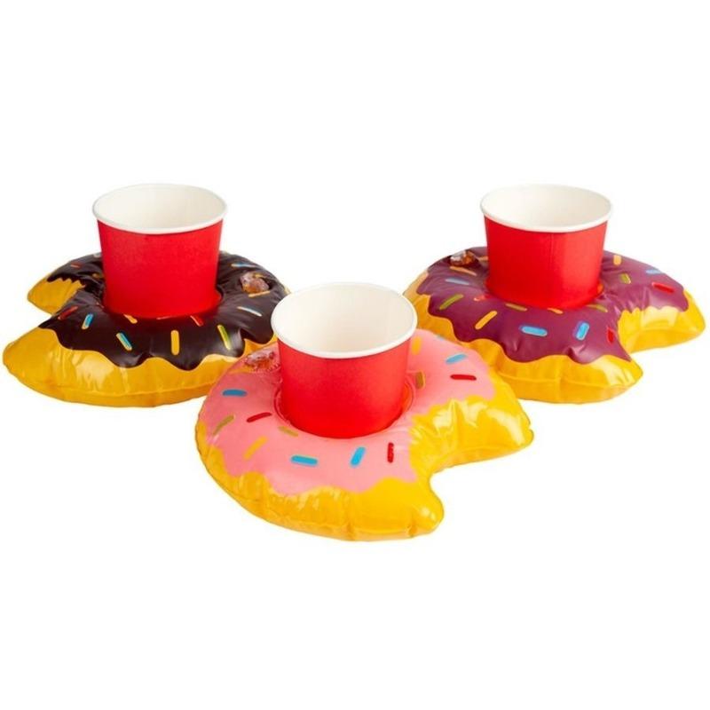 3x Opblaasbare drankhouders donut 20 cm