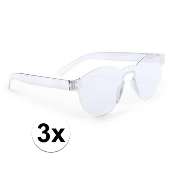 4b3f0a55880cc6 3x Transparante verkleed zonnebrillen voor volwassenen in oranje ...