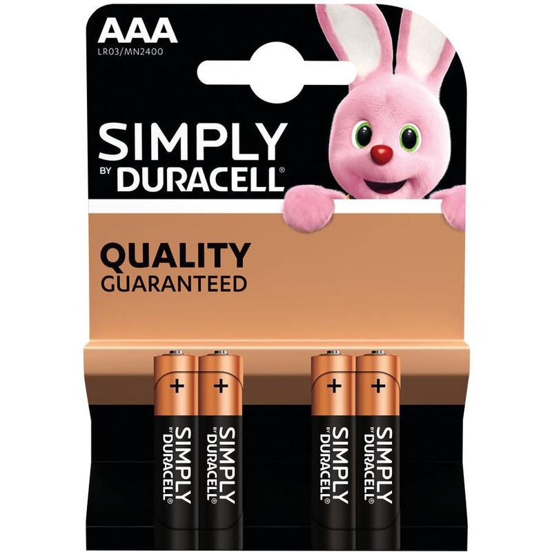4x Duracell AAA Simply batterijen alkaline LR03 MN2400 1.5 V