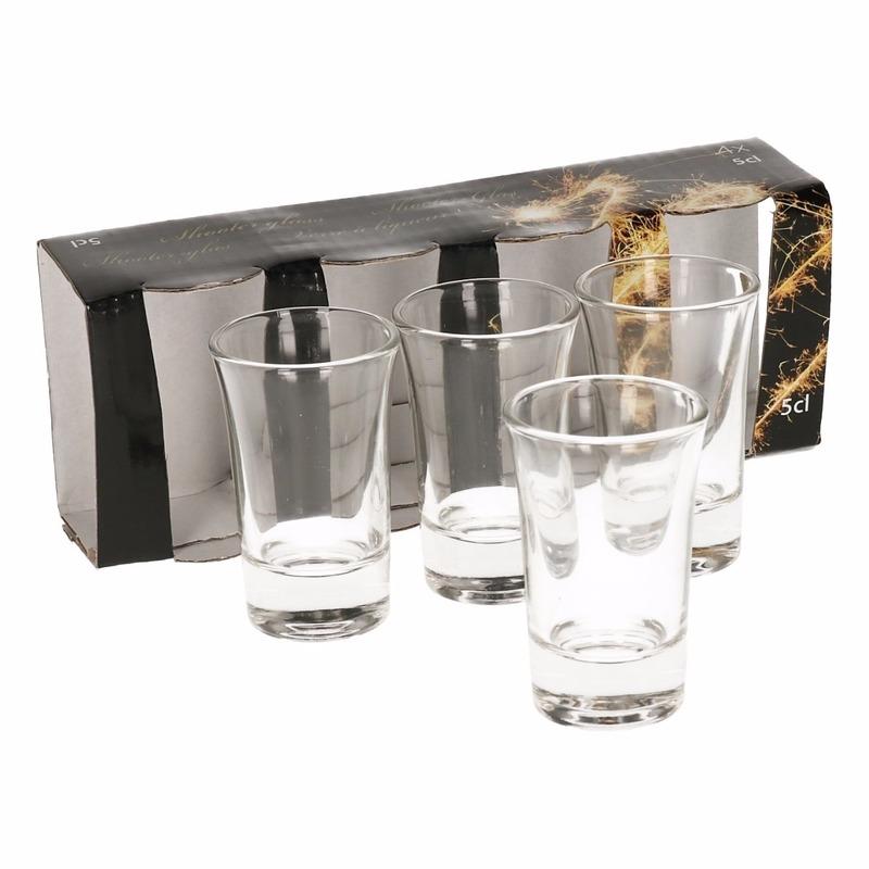 4x stuks shotglaasjes 5 cl borrel glaasjes voor drankspelletjes