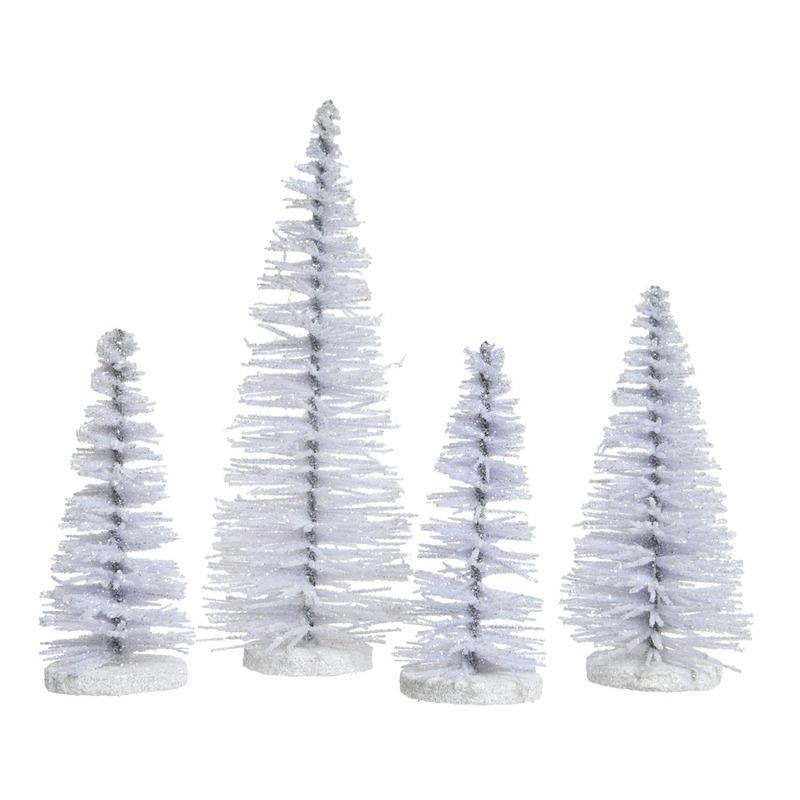 4x Witte kleine kunst kerstboompjes met glitter 15 cm