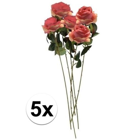 5x Roze roos kunstbloem Simone 45 cm