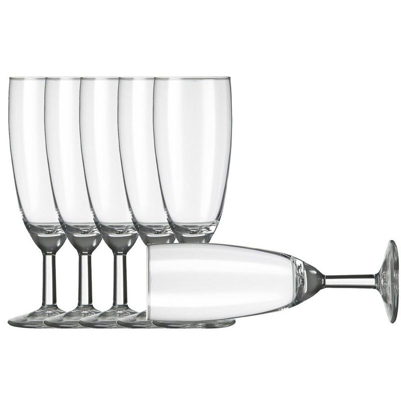 6x Champagneglazen-flutes transparant 150 ml Vinata