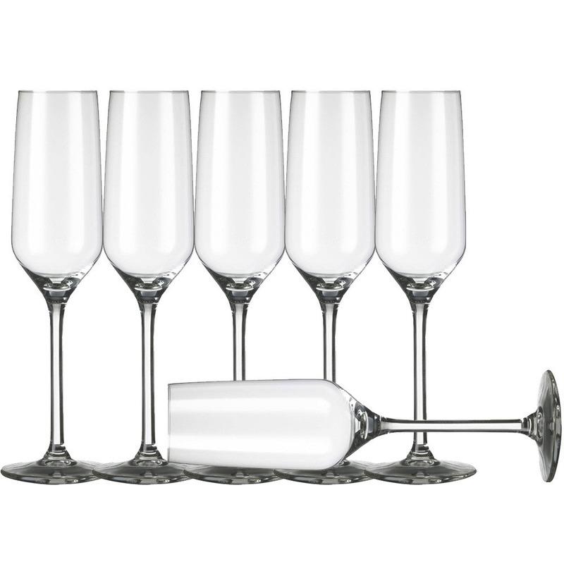 6x Champagneglazen-flutes transparant 220 ml Carre