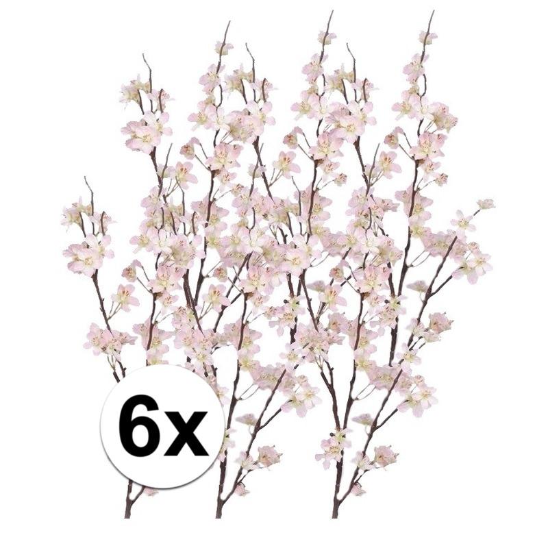 6x Decoratie appelbloesem tak roze 84 cm