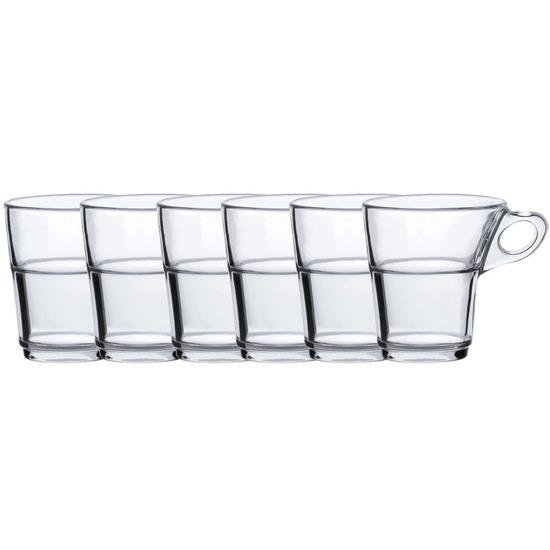 6x Theeglazen-koffieglazen transparant 220 ml Caprice