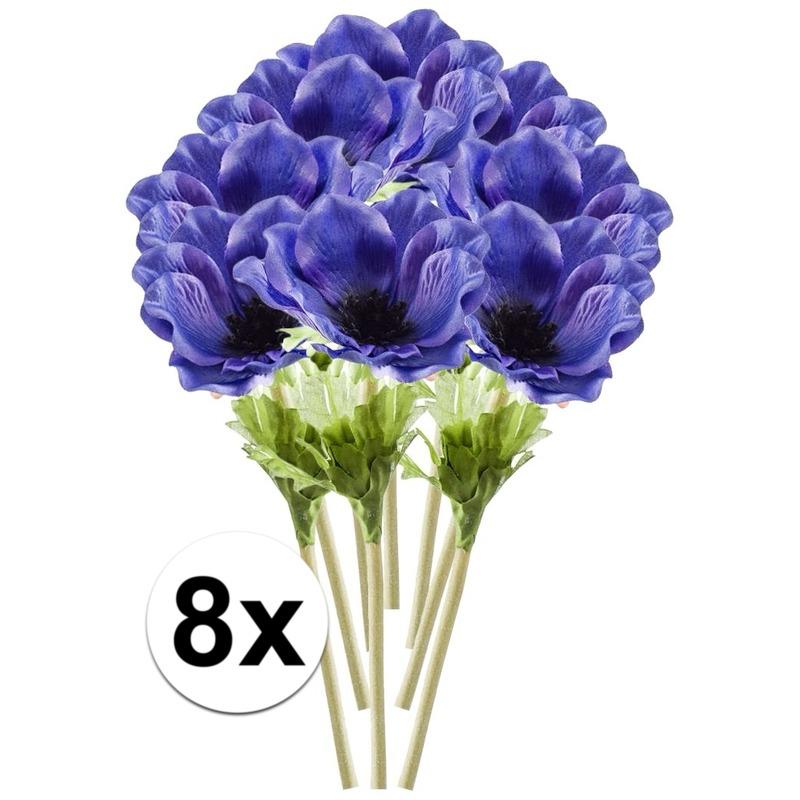 8x Blauwe Anemoon kunstbloemen tak 47 cm