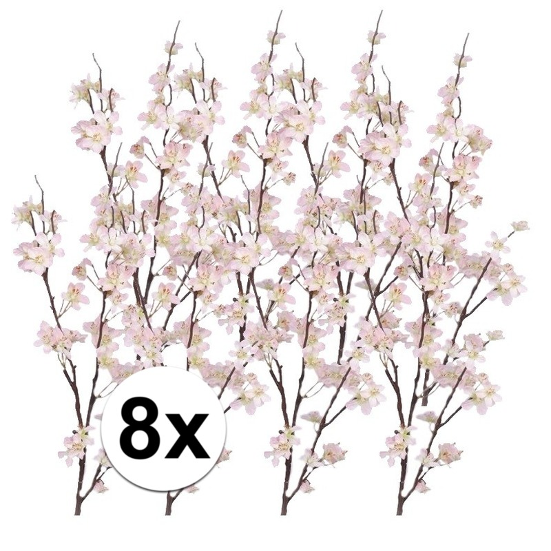8x Decoratie appelbloesem tak roze 84 cm