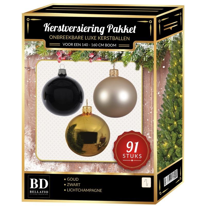 91 stuks Kerstballen mix goud-parel-zwart voor 150 cm boom
