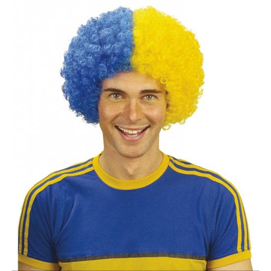 d3a2baa70fcf3d Afropruik in de kleur blauw met geel. deze afro pruiken zijn in de kleuren  van