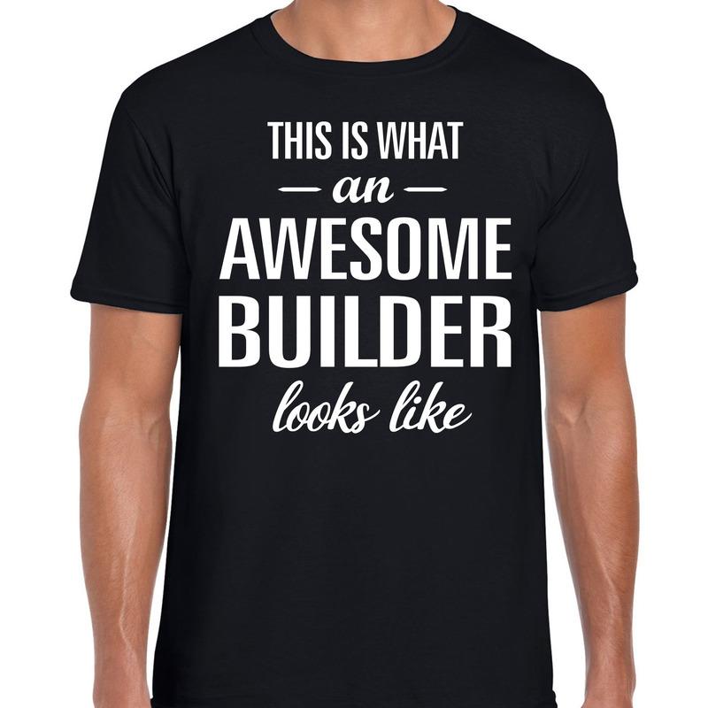 Awesome builder-bouwvakker cadeau t-shirt zwart heren