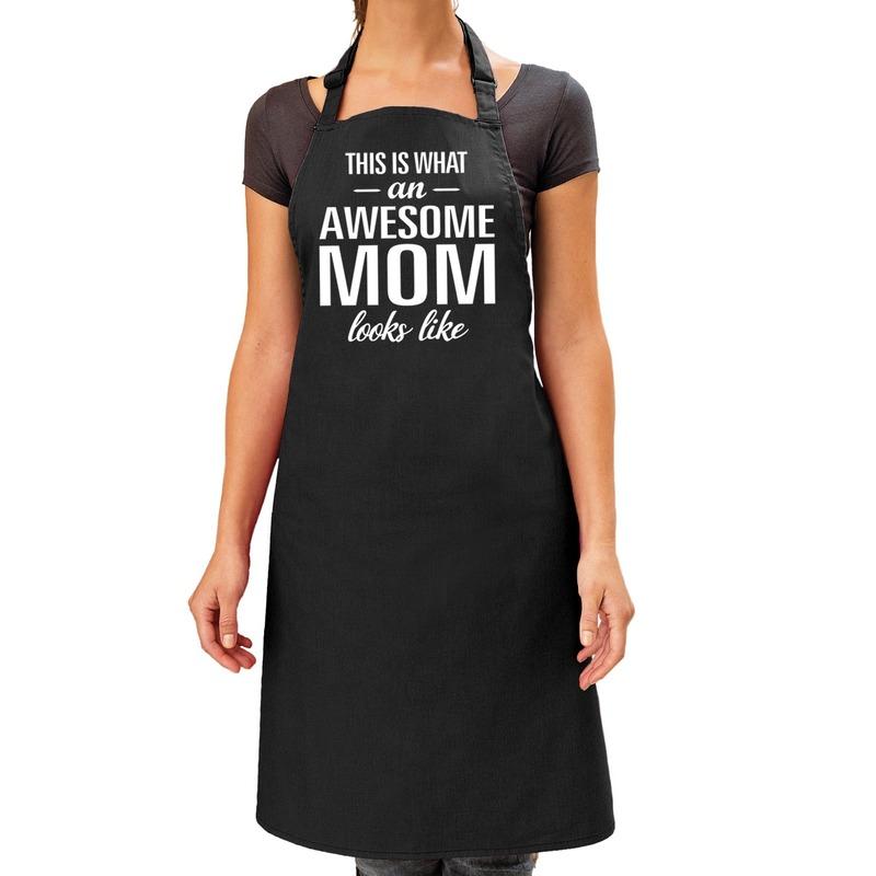 Awesome mom cadeau bbq-keuken schort zwart dames