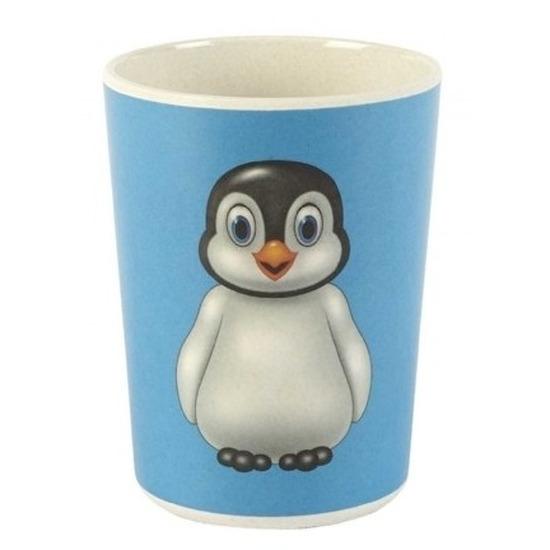 Bamboe bekers met pinguin voor kinderen 8 cm