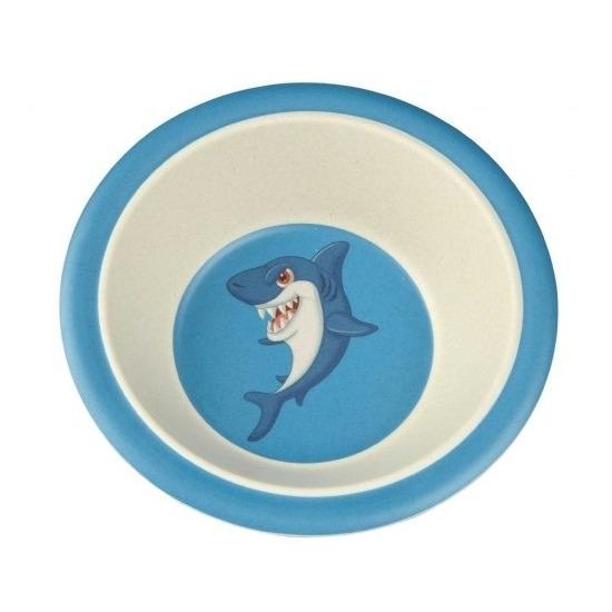 Bamboe ontbijt kommetjes haai voor kinderen 16 cm