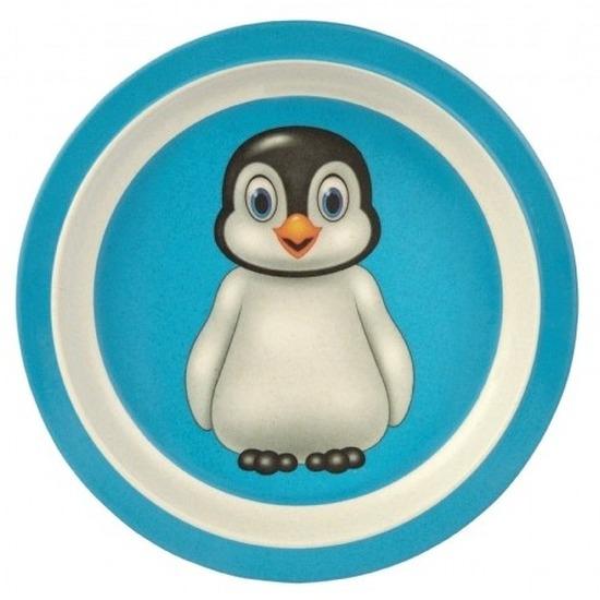 Bamboe ontbijtbordjes pinguin voor kinderen 21 cm