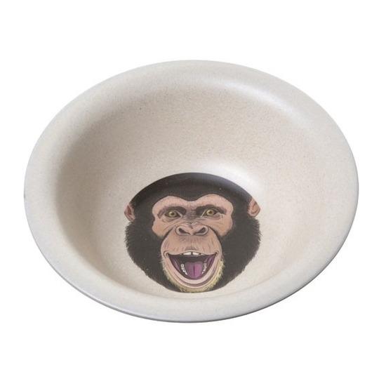 Bamboe ontbijtkommetjes chimpansee voor kinderen 15 cm