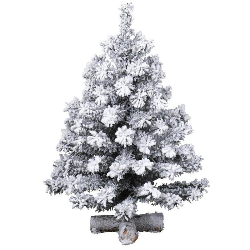Besneeuwde kunst kerstboom op kruispoot 35 cm kunstbomen