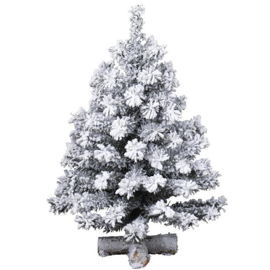 Besneeuwde kunst kerstboom op kruispoot 60 cm kunstbomen