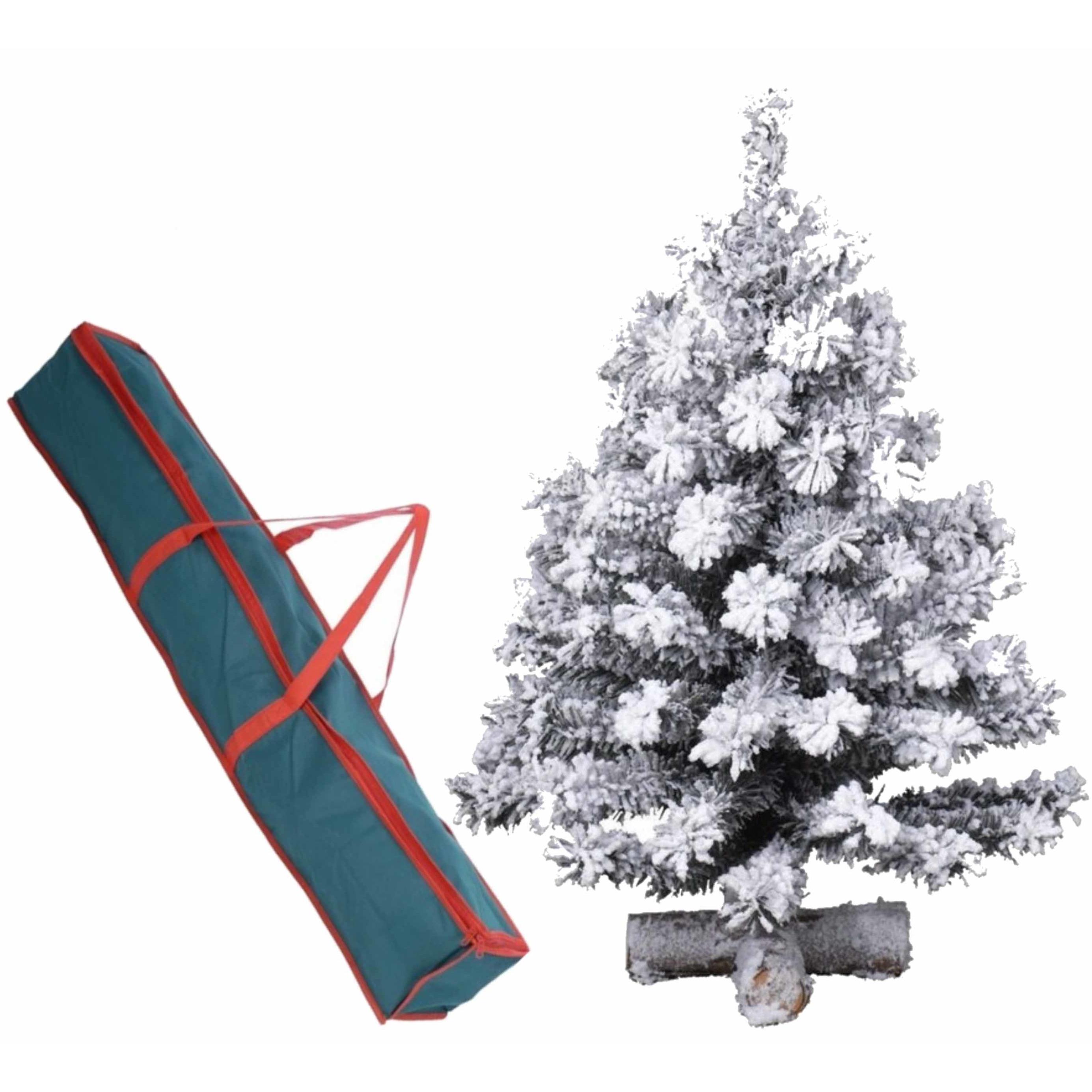 Besneeuwde kunst kerstboom op kruispoot 75 cm inclusief opbergzak