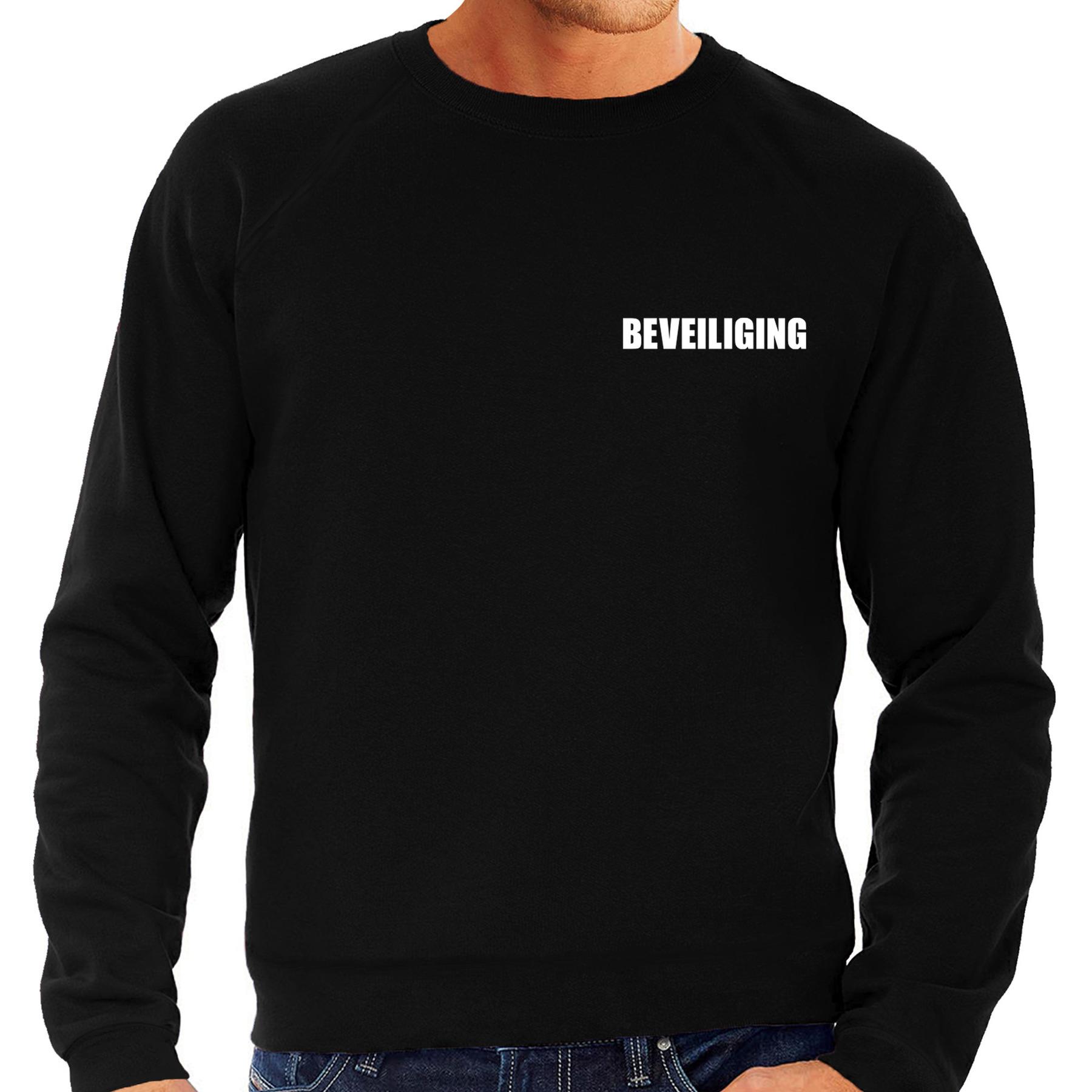 Beveiliging tekst sweater-trui zwart voor heren