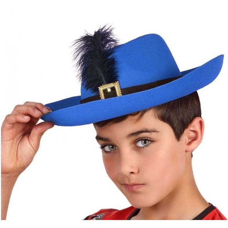 ff9829c41c891a Blauwe musketier verkleed hoed voor kinderen in oranje artikelen ...