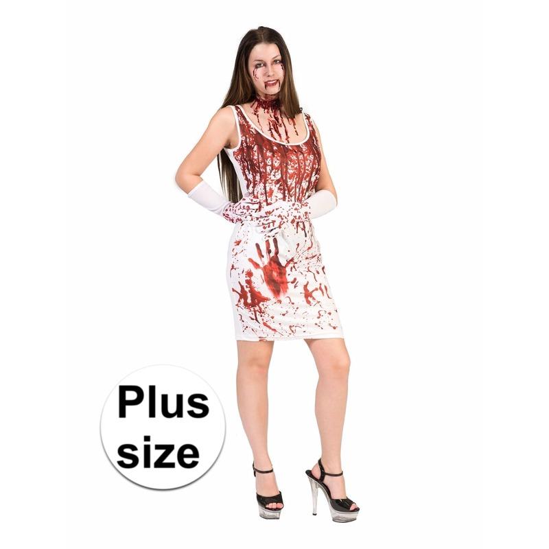 adbced0f536402 Bloederige jurk voor dames. witte dames jurk met bloedspetters en bloed  handafdrukken. grote maten
