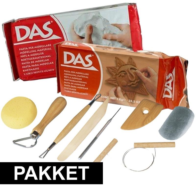 Boetseer basis pakket met klei en gereedschap 10-delig