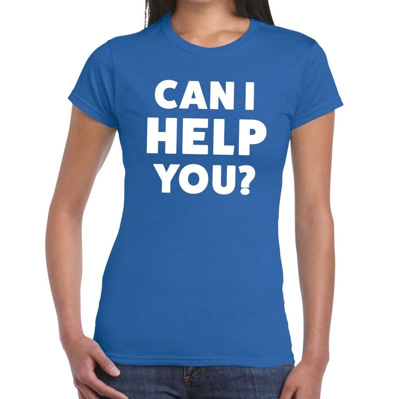 Can i help you beurs-evenementen t-shirt blauw dames