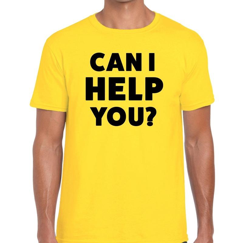 Can i help you beurs-evenementen t-shirt geel heren
