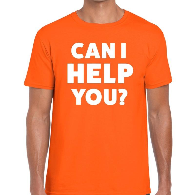 Can i help you beurs-evenementen t-shirt oranje heren