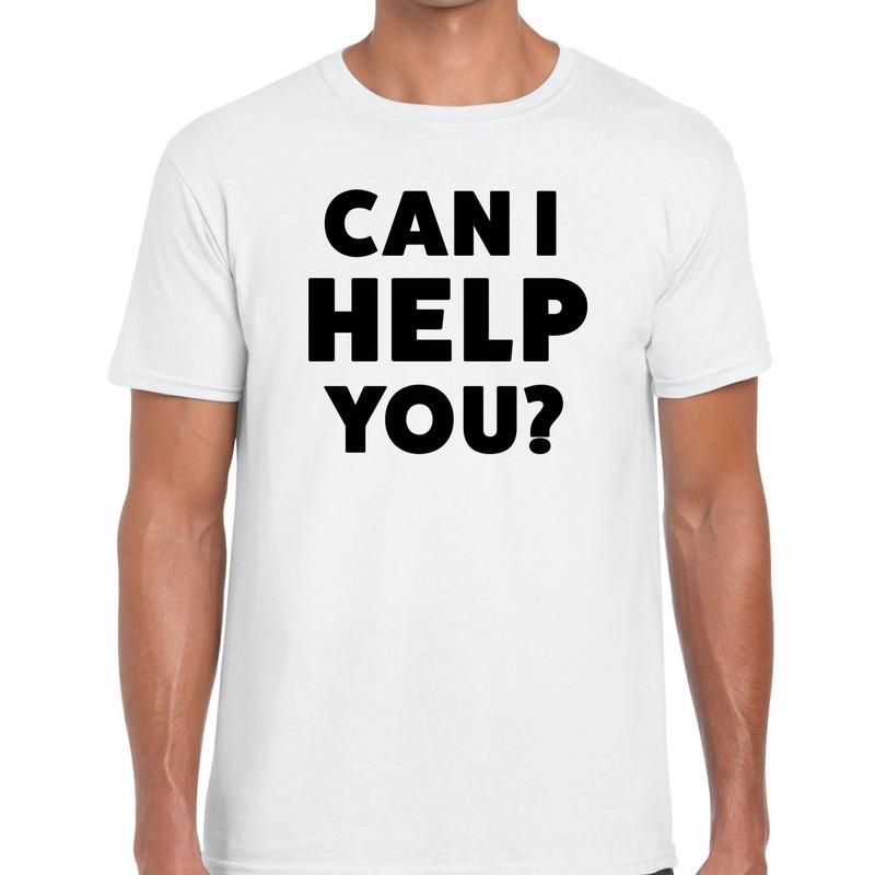 Can i help you beurs-evenementen t-shirt wit heren