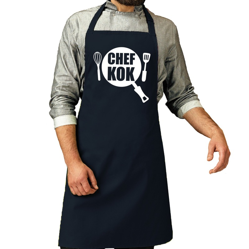Chef kok barbeque schort-keukenschort navy voor heren