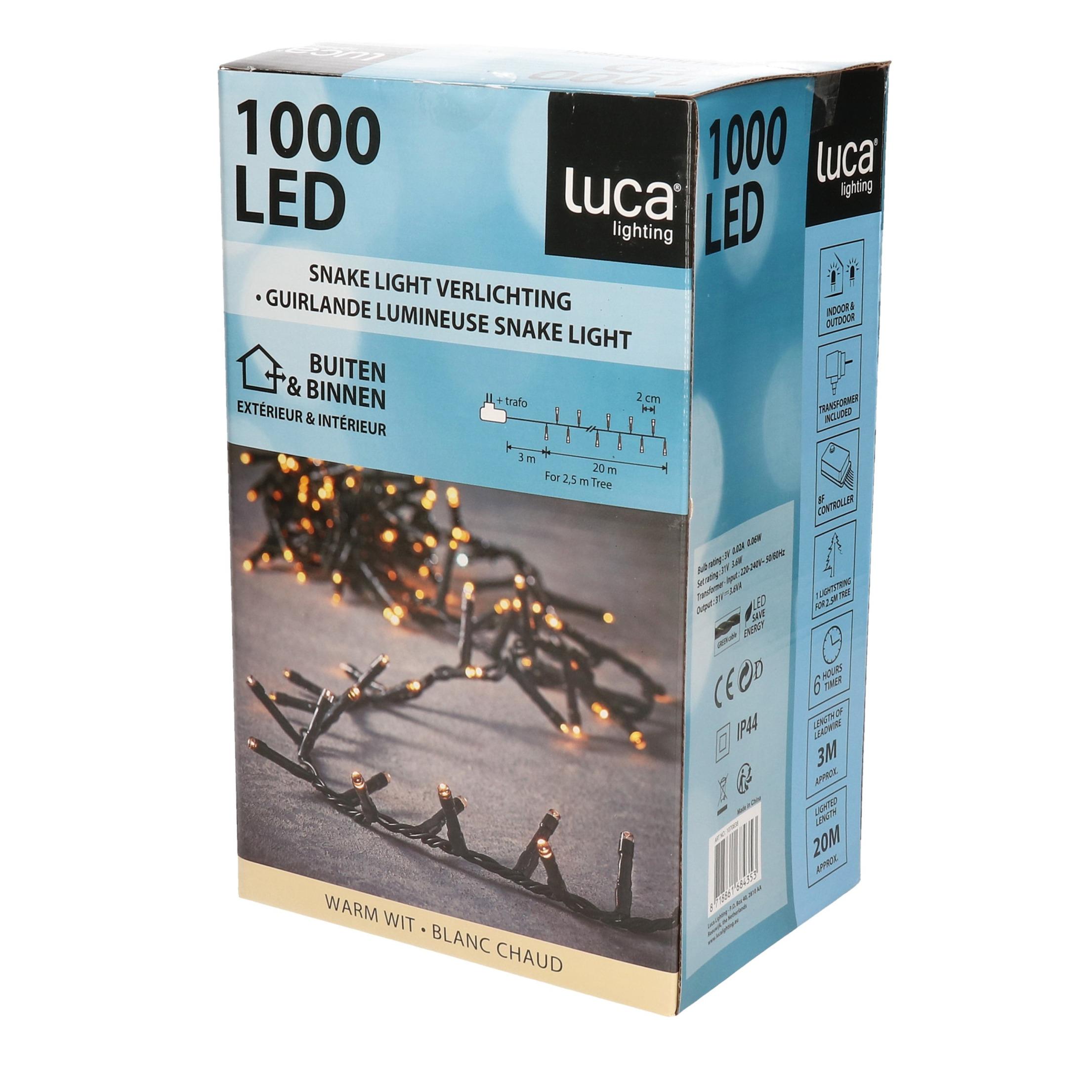 Clusterverlichting 1000 warm witte lampjes met afstandsbediening 20 m