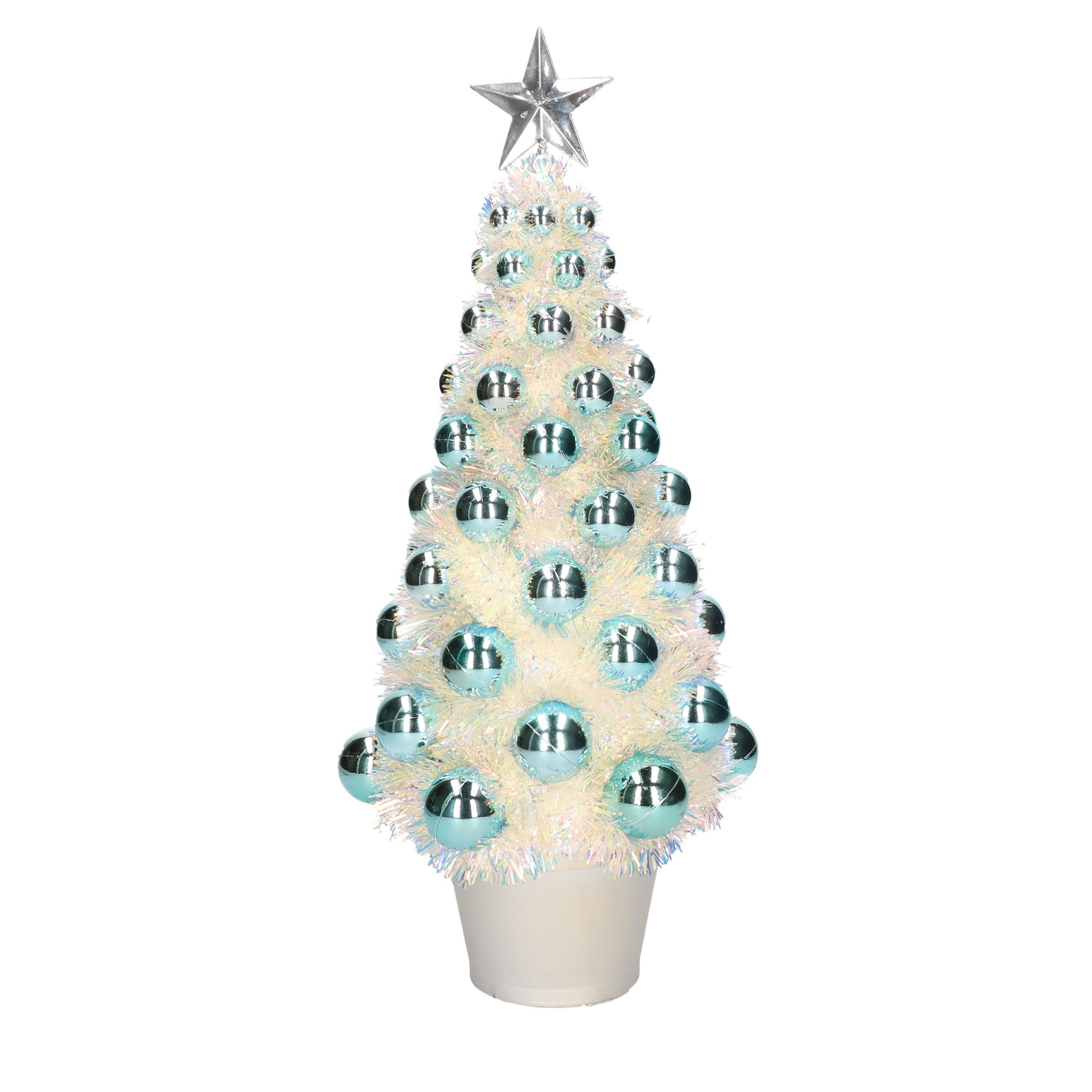 Complete mini kunst kerstboom-kunstboom blauw met lichtjes 40 cm