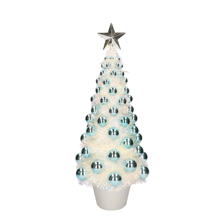 Complete mini kunst kerstboom-kunstboom blauw met lichtjes 50 cm