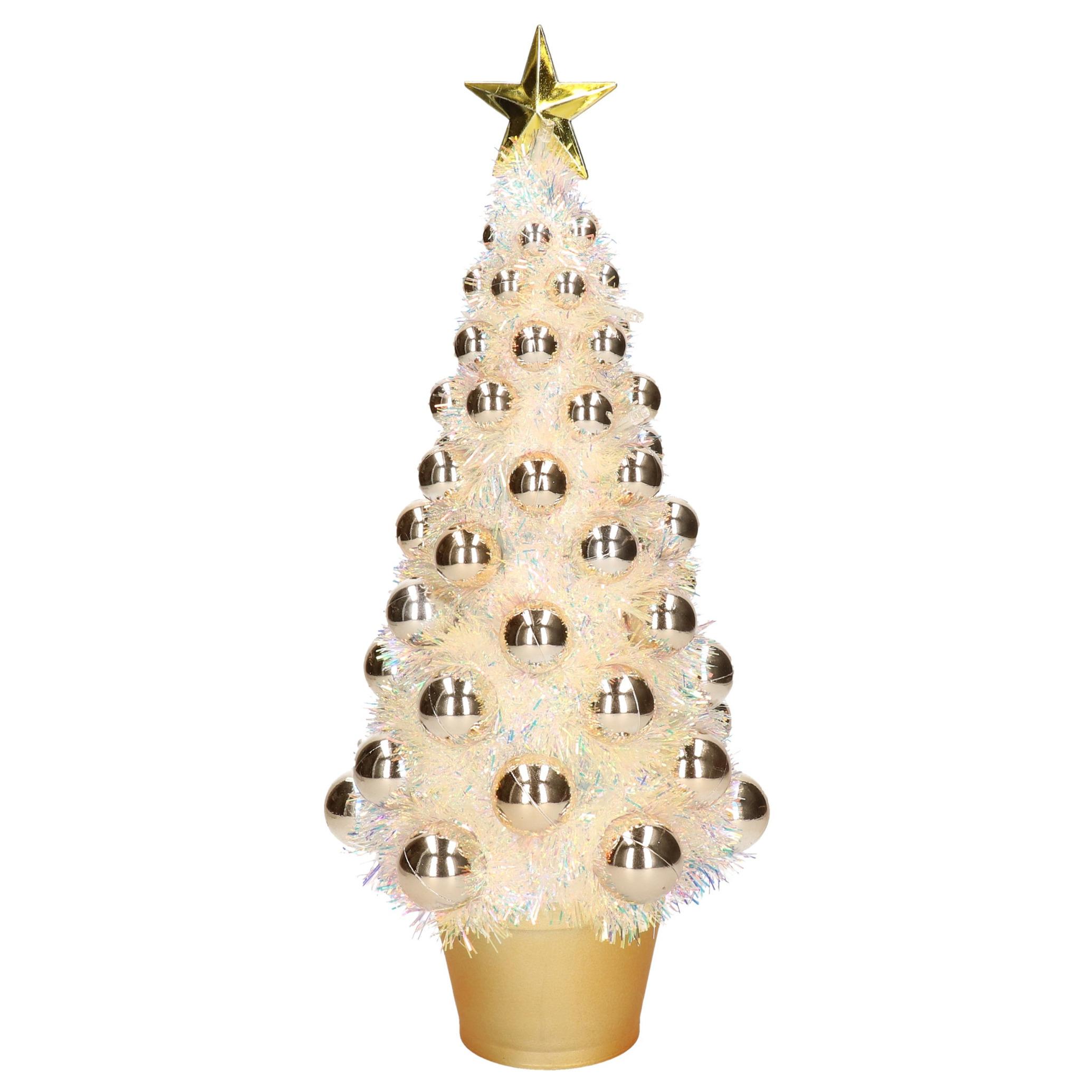 Complete mini kunst kerstboom-kunstboom goud met lichtjes 40 cm