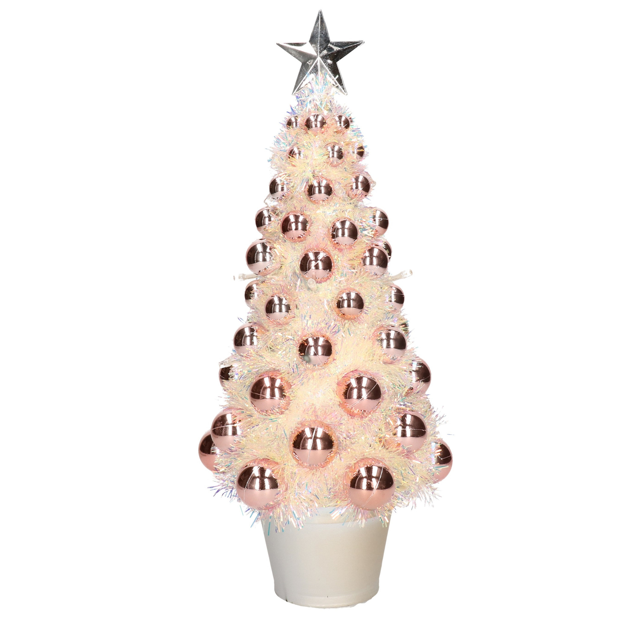 Complete mini kunst kerstboom-kunstboom zalmroze met lichtjes 40 cm