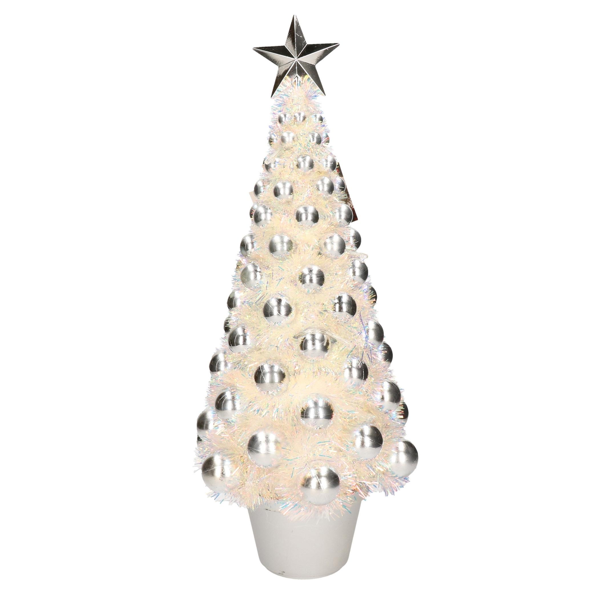 Complete mini kunst kerstboom-kunstboom zilver met lichtjes 50 cm