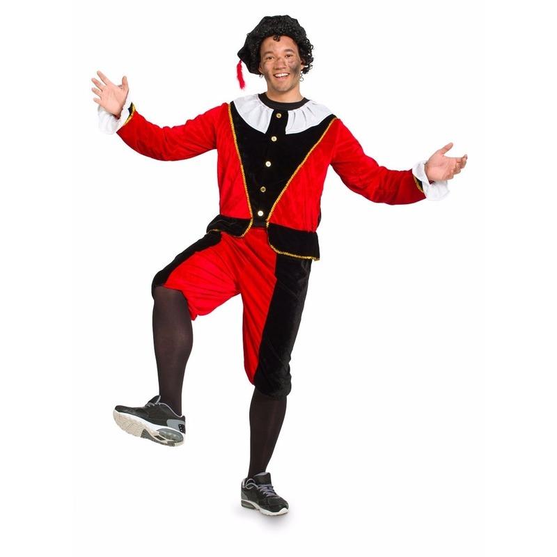 Dames pietenpak rood/zwart grote maat. dit pietenpak bestaat uit een jasje, broek en baret en is gemaakt van ...
