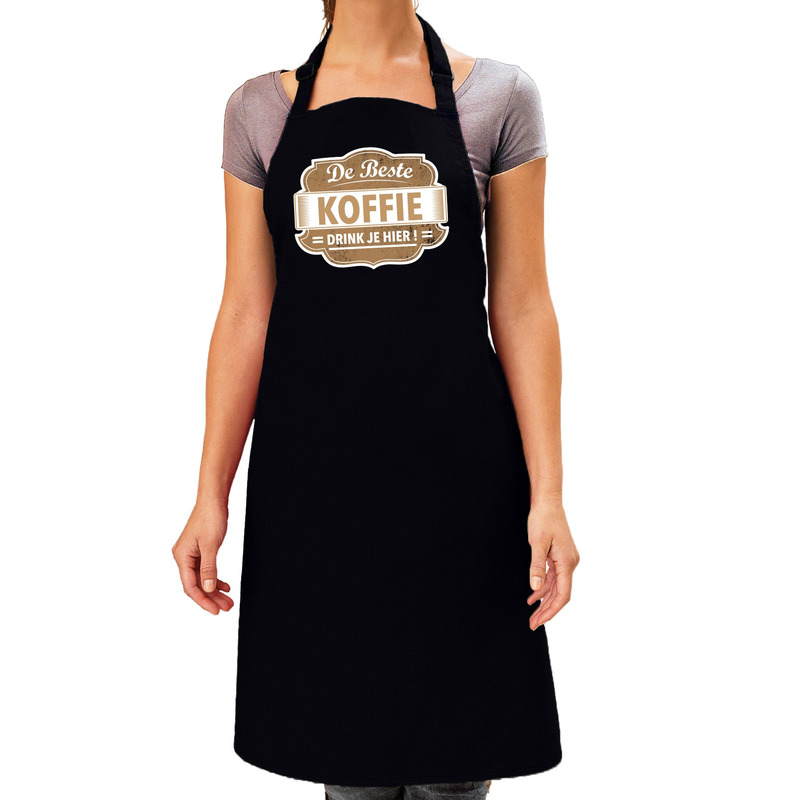 De Beste Koffie keukenschort zwart dames