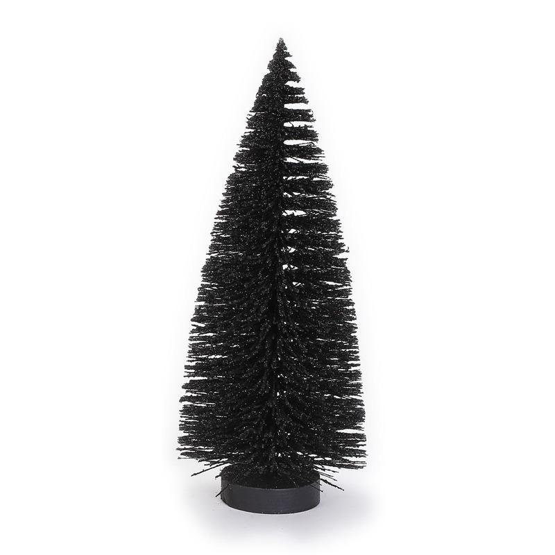 Decoratie kerstbomen- mini kerstboompjes zwart 27 cm