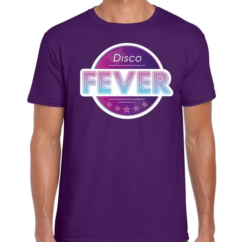Disco fever feest t-shirt paars voor heren